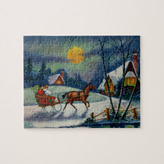 Christmas Sleigh Ride Holiday Carolers Victorian Jigsaw Puzzle