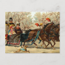 """""""Christmas Sleigh Ride"""" Holiday Postcard"""