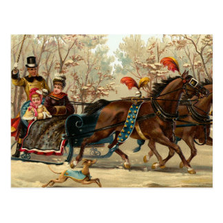"""Christmas Sleigh Ride"" Postcard"