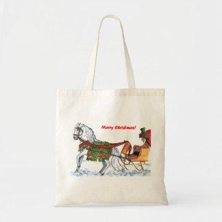 Christmas sleigh ride tote bag