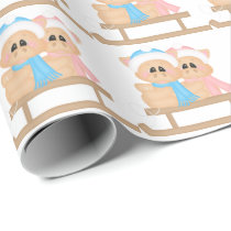 Christmas Sleigh riding tiled pigs wrapping paper