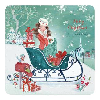 Christmas Sleigh Shopping Girl  - Greetings Invitation