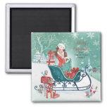 Christmas Sleigh Shopping Girl  - Magnet