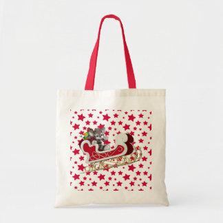 Christmas Sleigh Tiger Tote Bag