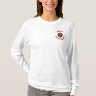 Christmas Smiley Embroidered Long Sleeve T-Shirt