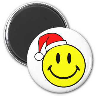 Christmas Smiley Face 2 Inch Round Magnet