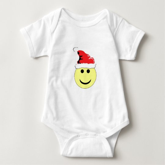 Christmas Smiley With A Santa Hat Baby Bodysuit