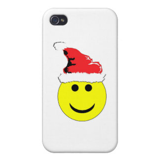 Christmas Smiley With A Santa Hat iPhone 4 Covers