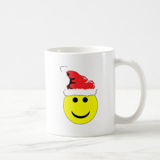 Christmas Smiley With A Santa Hat Coffee Mugs