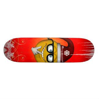 Christmas smiley with eyeglass skateboards
