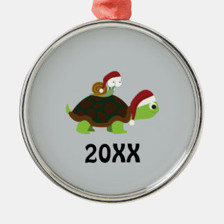 Christmas Snail on a turtle Metal Ornament