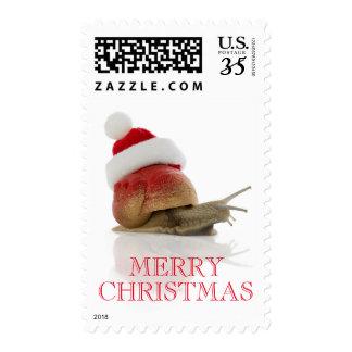 Christmas Snail Postage Stamp