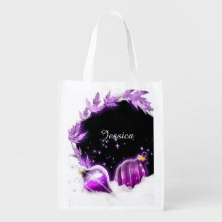 Christmas snow baubels purple black reusable grocery bag