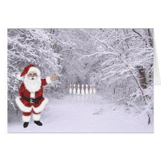 Christmas snow bowling card
