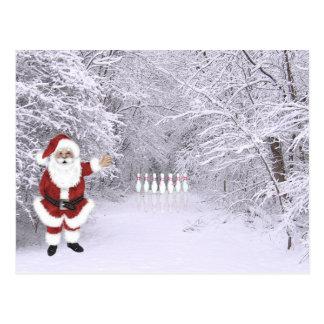 Christmas snow bowling postcard