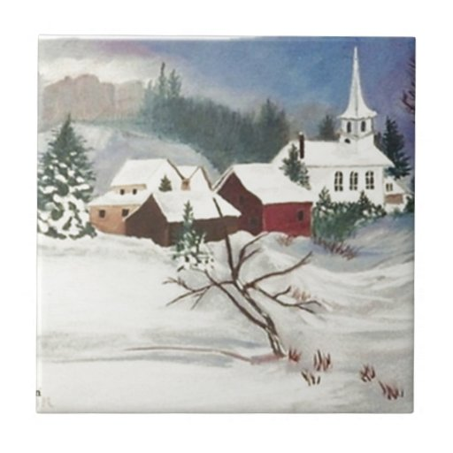 Christmas Snow by the Chapel Ceramic Tiles