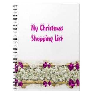 Christmas snow decorations shopping notebook