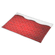 Christmas Snow Drift Red Bricks Background Placemats
