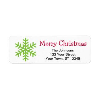 Christmas snow flake return address lables return address label