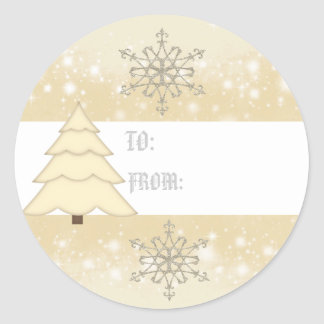 Christmas Snow Flakes gift tag Round Sticker