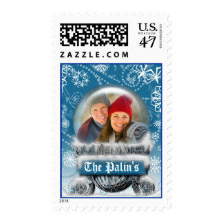 Christmas Snow Globe Custom Photo Template Holiday Postage