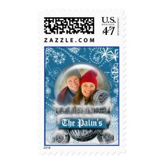 Christmas Snow Globe Custom Photo Template Holiday Postage Stamp