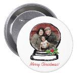 Christmas Snow Globe Photo 3 Inch Round Button