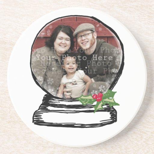 Christmas Snow Globe Photo Coaster