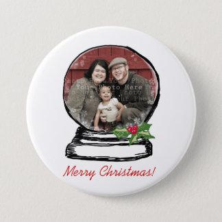 Christmas Snow Globe Photo Pinback Button