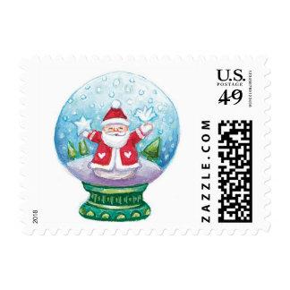 Christmas Snow Globe Santa Claus, Star and Bird Stamps