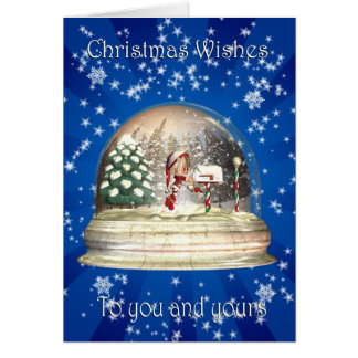 Christmas Snow Globe with little elf and mail box Card