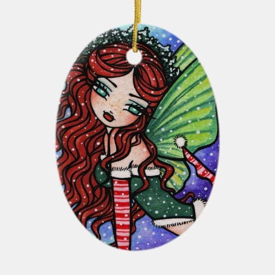 Christmas Snow Irish Fae Fairy Art by Hannah Lynn Ceramic Ornament