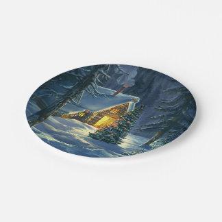 Christmas Snow Landscape 7 Inch Paper Plate