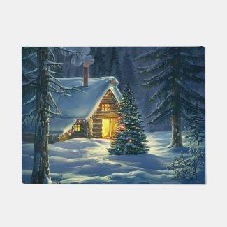 Christmas Snow Landscape Doormat