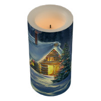 Christmas Snow Landscape Medium Flameless Candle