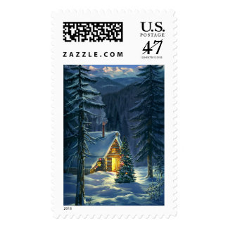 Christmas Snow Landscape Postage Stamp
