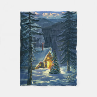 Christmas Snow Landscape Small Fleece Blanket