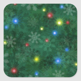 Christmas Snow Lights Square Sticker