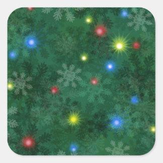 Christmas Snow Lights Square Sticker