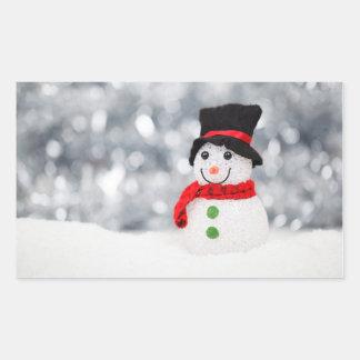Christmas snow man rectangular sticker