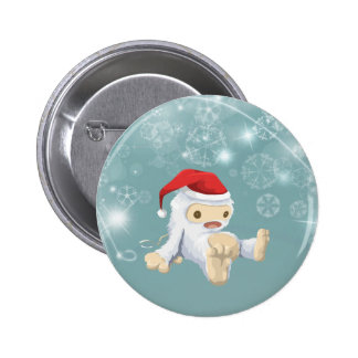 Christmas Snow Monster Doll With a Red Santa Hat Pinback Button