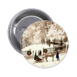 Christmas & Snow on Boston Commons in the 1870s Pinback Buttons