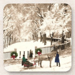 Christmas & Snow on Boston Commons in the 1870s Beverage Coaster