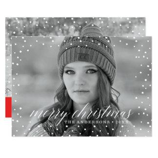 Christmas Snow Overlay Two Photo Card