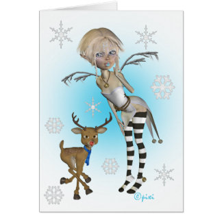Christmas Snow Pixi Greeting Card