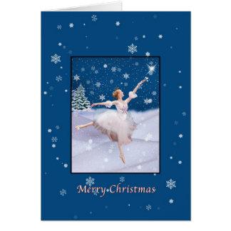 Christmas, Snow Queen Ballerina Dancing, Card