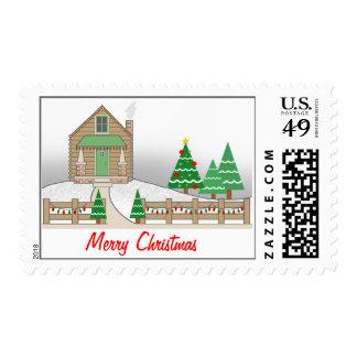 Christmas Snow Scene - Log Cabin Christmas Lights Stamps