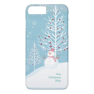 Christmas Snow Scene with Snowman Phone Case