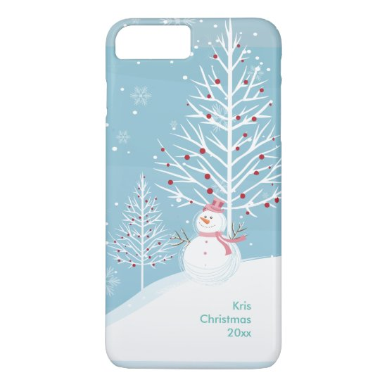 Christmas Snow Scene with Snowman Phone Case