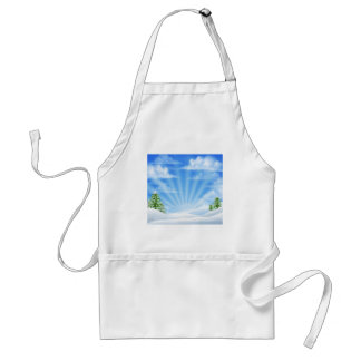 Christmas Snow Winter Background Adult Apron